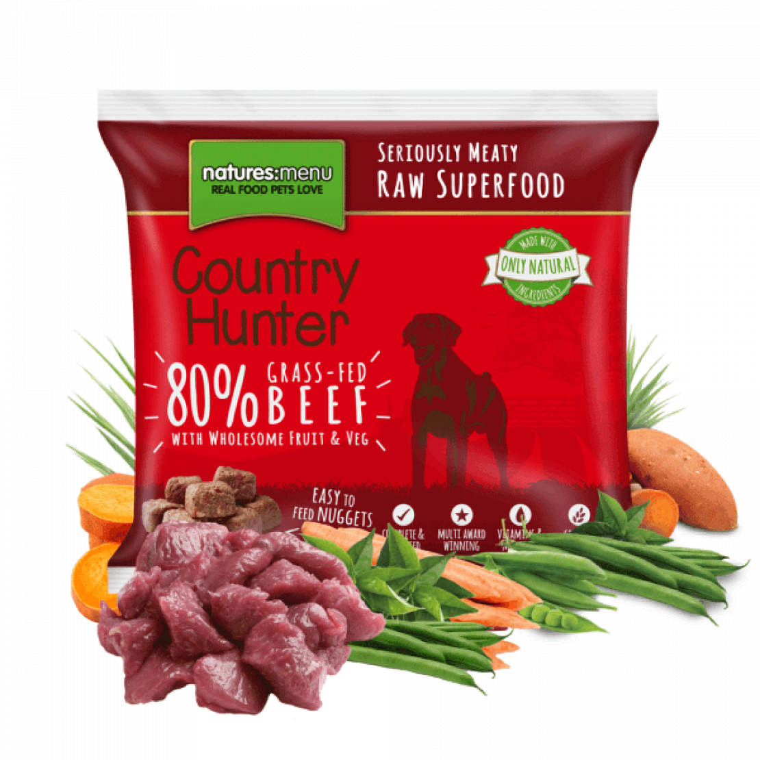 ONLY AVAILABLE FOR LOCAL DELIVERY. Country Hunter Frozen Dog Food. Raw Nuggets. Beef