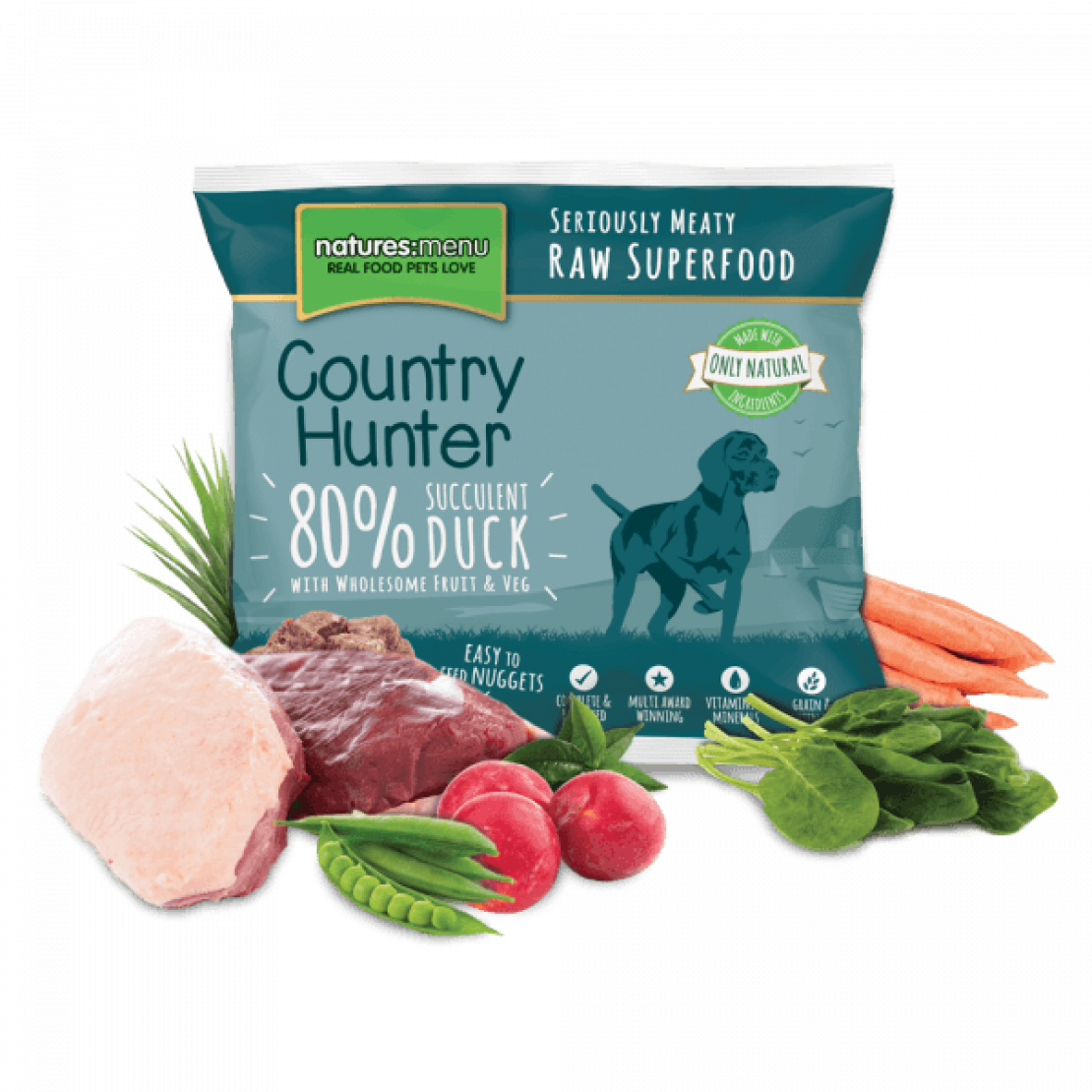 ONLY AVAILABLE FOR LOCAL DELIVERY. Country Hunter Frozen Dog Food. Raw Nuggets. Duck