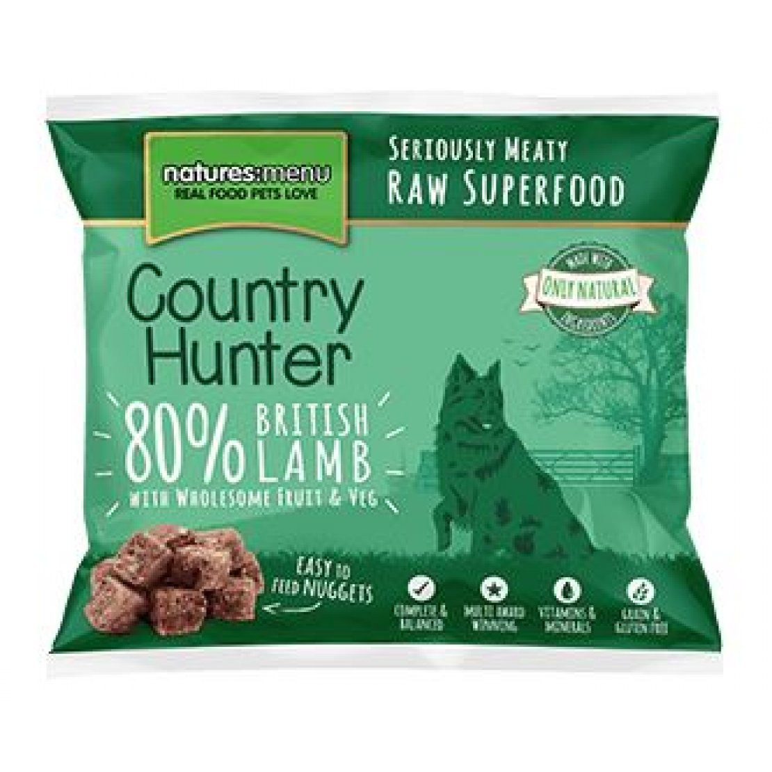 ONLY AVAILABLE FOR LOCAL DELIVERY. Country Hunter Frozen Dog Food. Raw Nuggets. Lamb