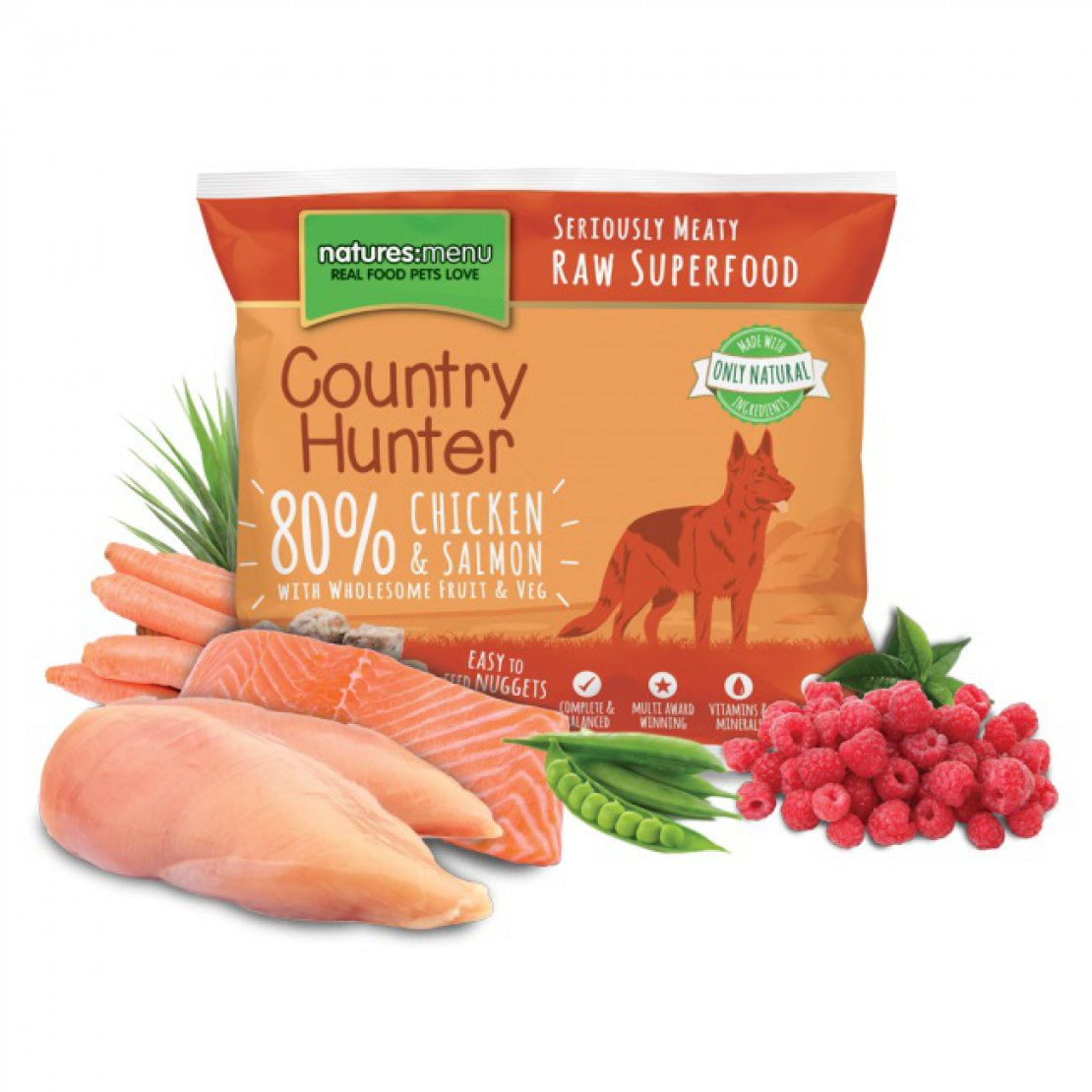 ONLY AVAILABLE FOR LOCAL DELIVERY. Country Hunter Frozen Dog Food. Raw  Nuggets. Salmon & Chicken