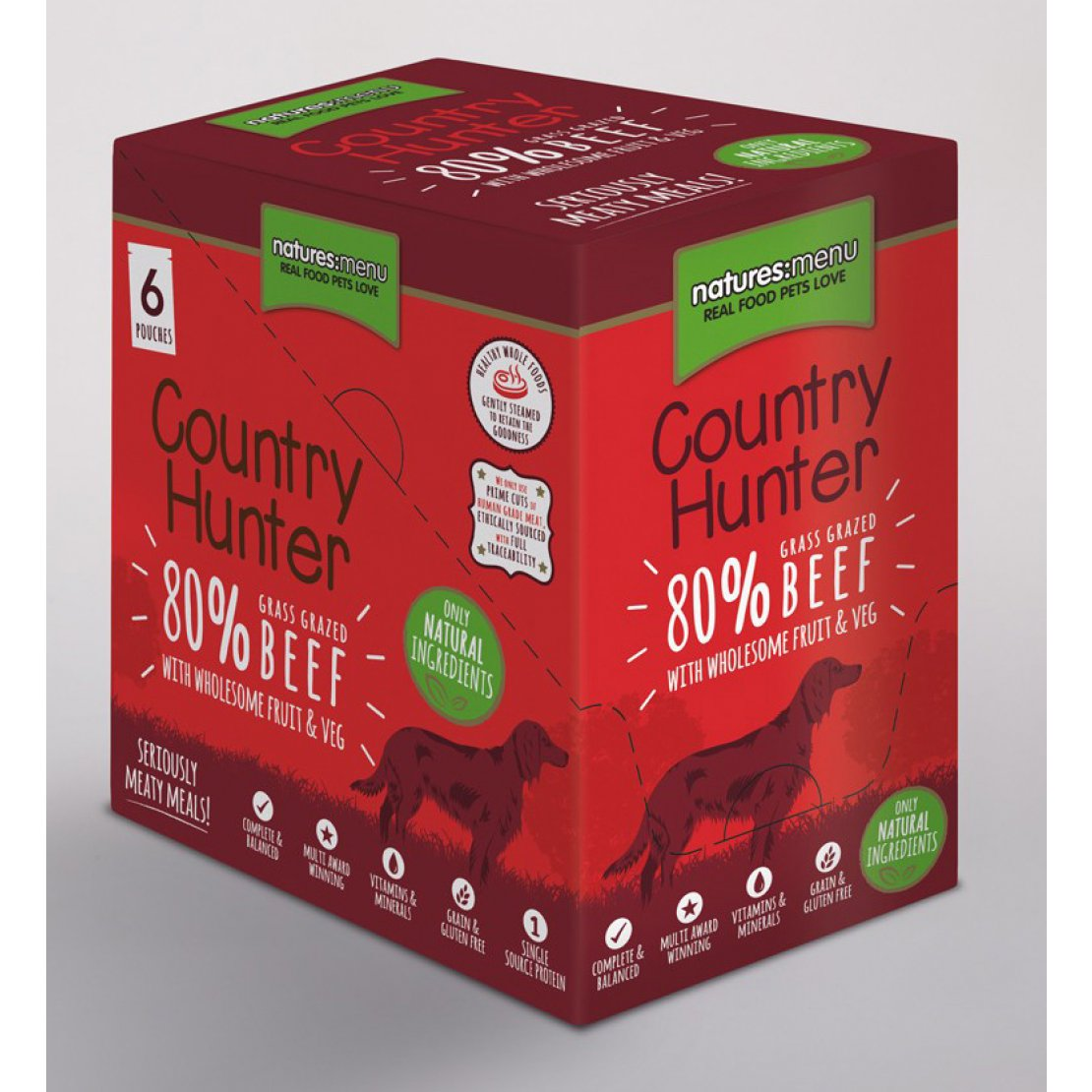 ONLY AVAILABLE FOR LOCAL DELIVERY. Country Hunter Dog Food Pouch. Beef. 6Pk.