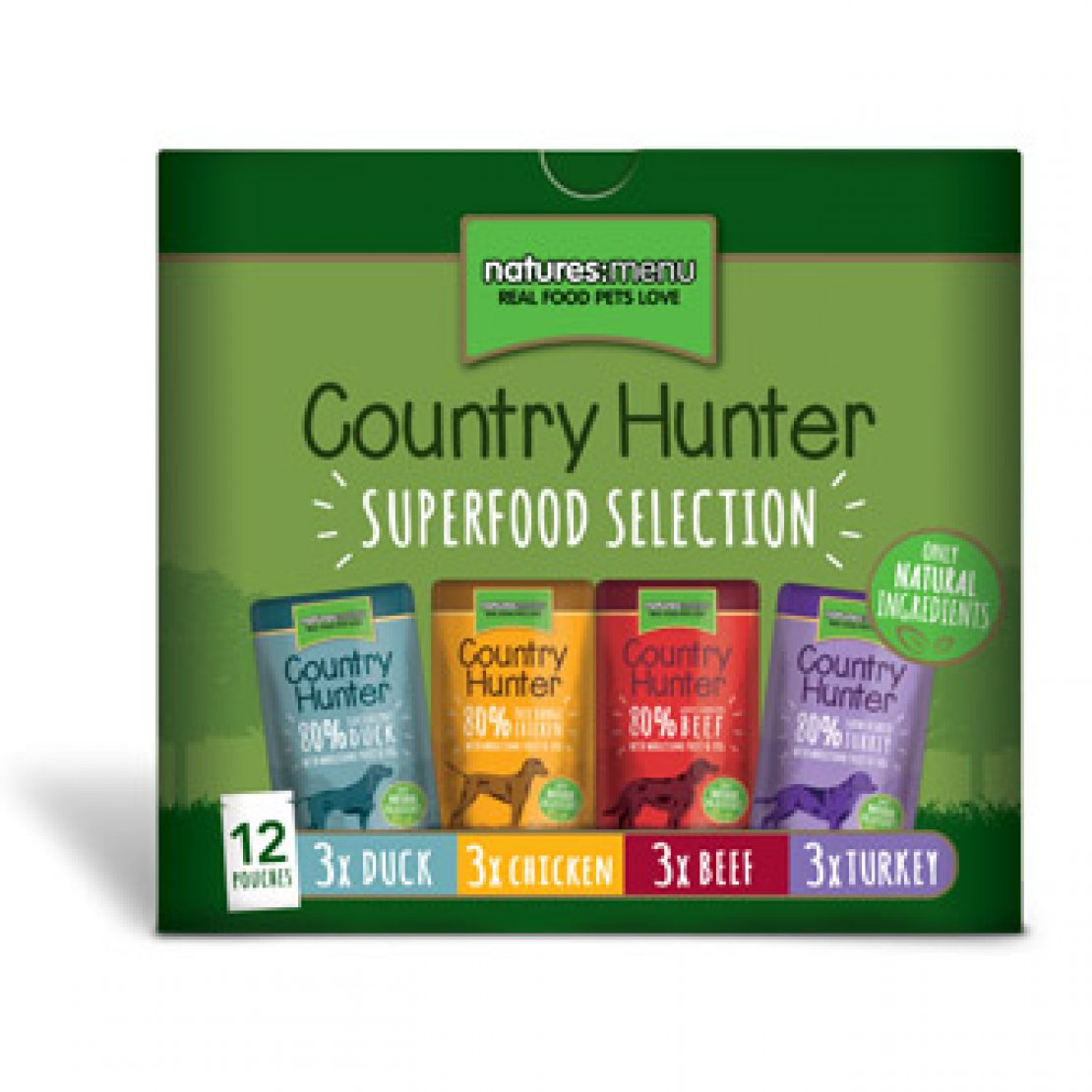 ONLY AVAILABLE FOR LOCAL DELIVERY. Country Hunter Dog Food Pouch. Mixed Box. 12Pk