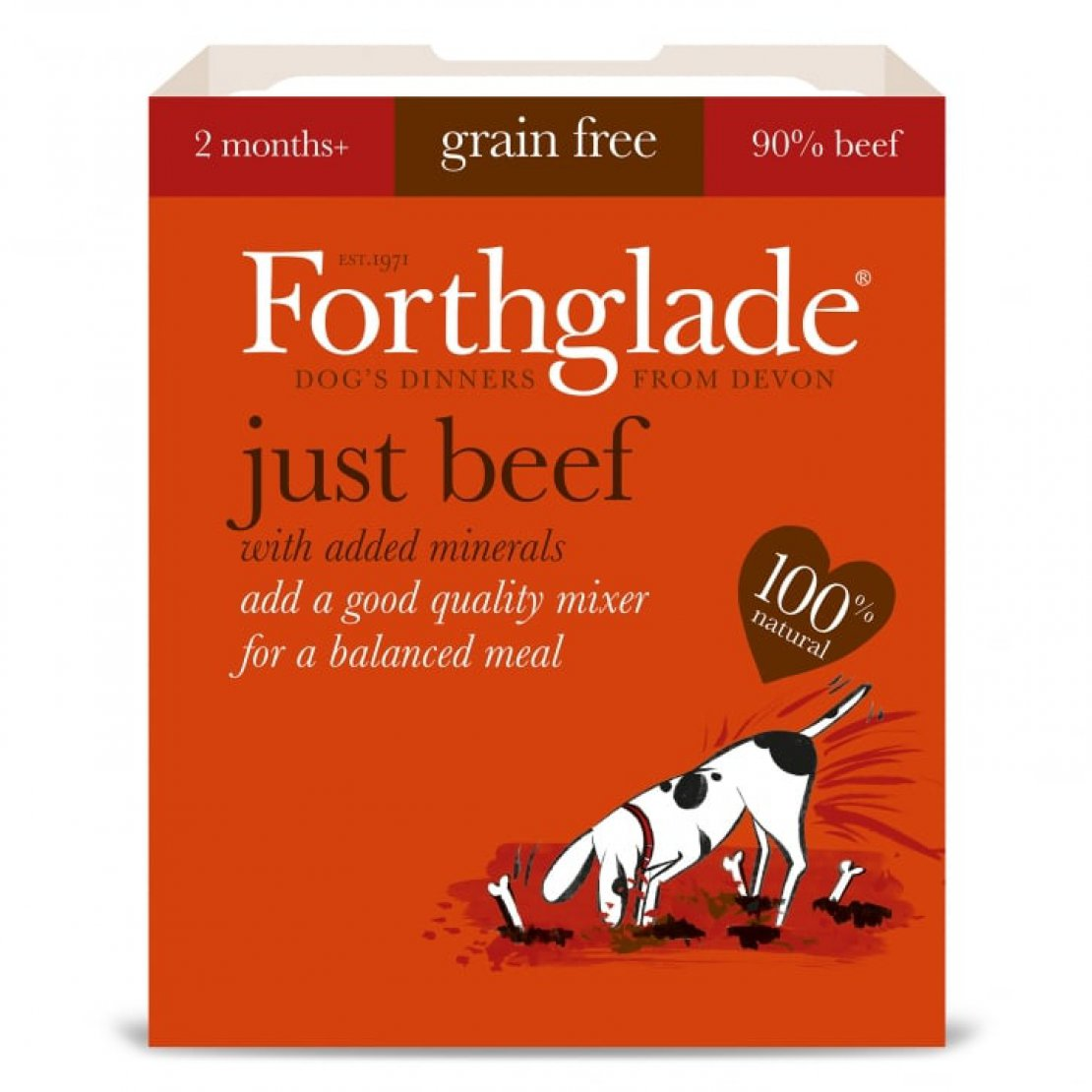 ONLY AVAILABLE FOR LOCAL DELIVERY. Forthglade Just Dog Food. Beef Tray. 18pk