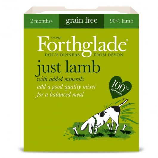 ONLY AVAILABLE FOR LOCAL DELIVERY. Forthglade Just Dog Food. Lamb Tray. 18pk