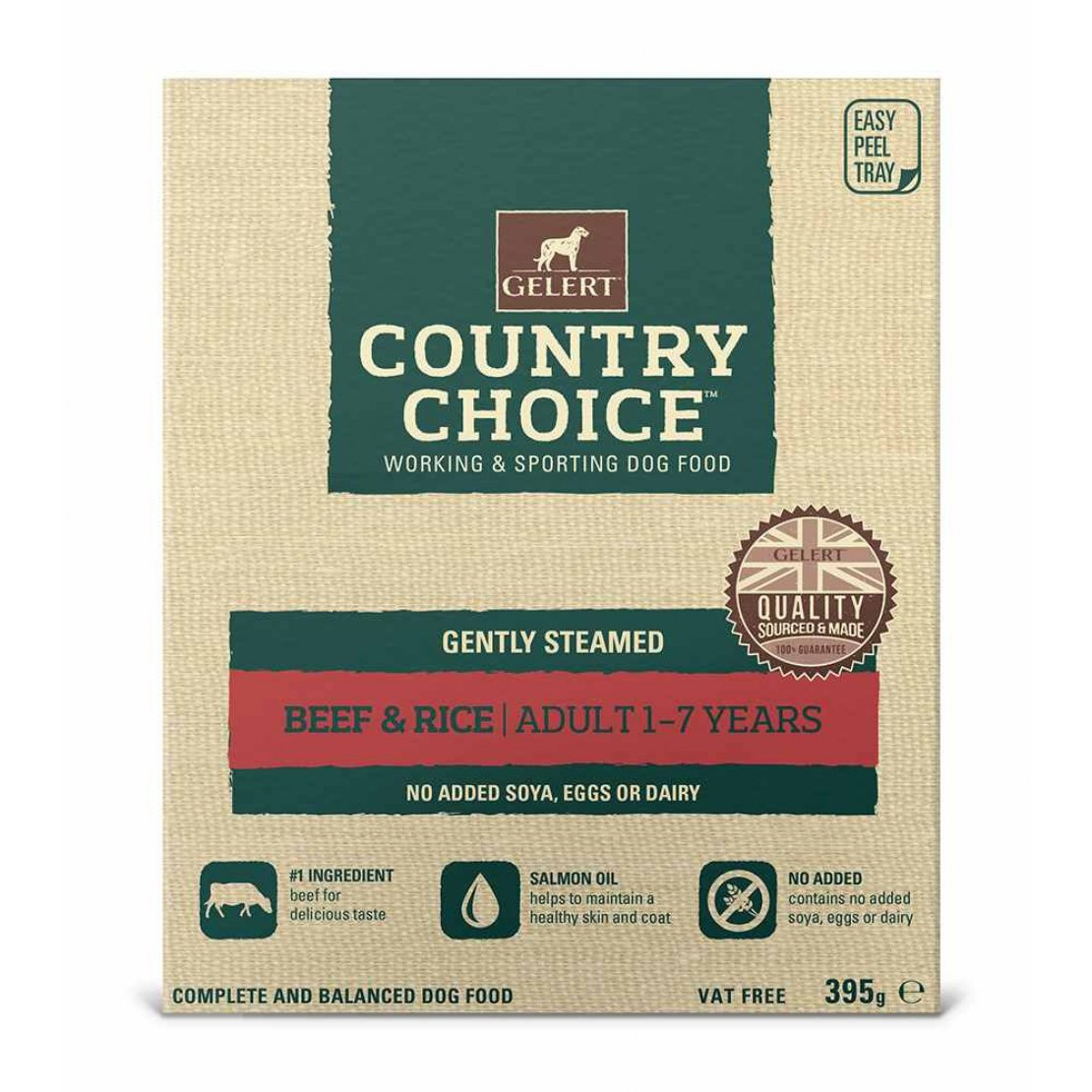 ONLY AVAILABLE FOR LOCAL DELIVERY. Gelert Country Choice Dog Food Tray. Beef & Rice. 10 Pack