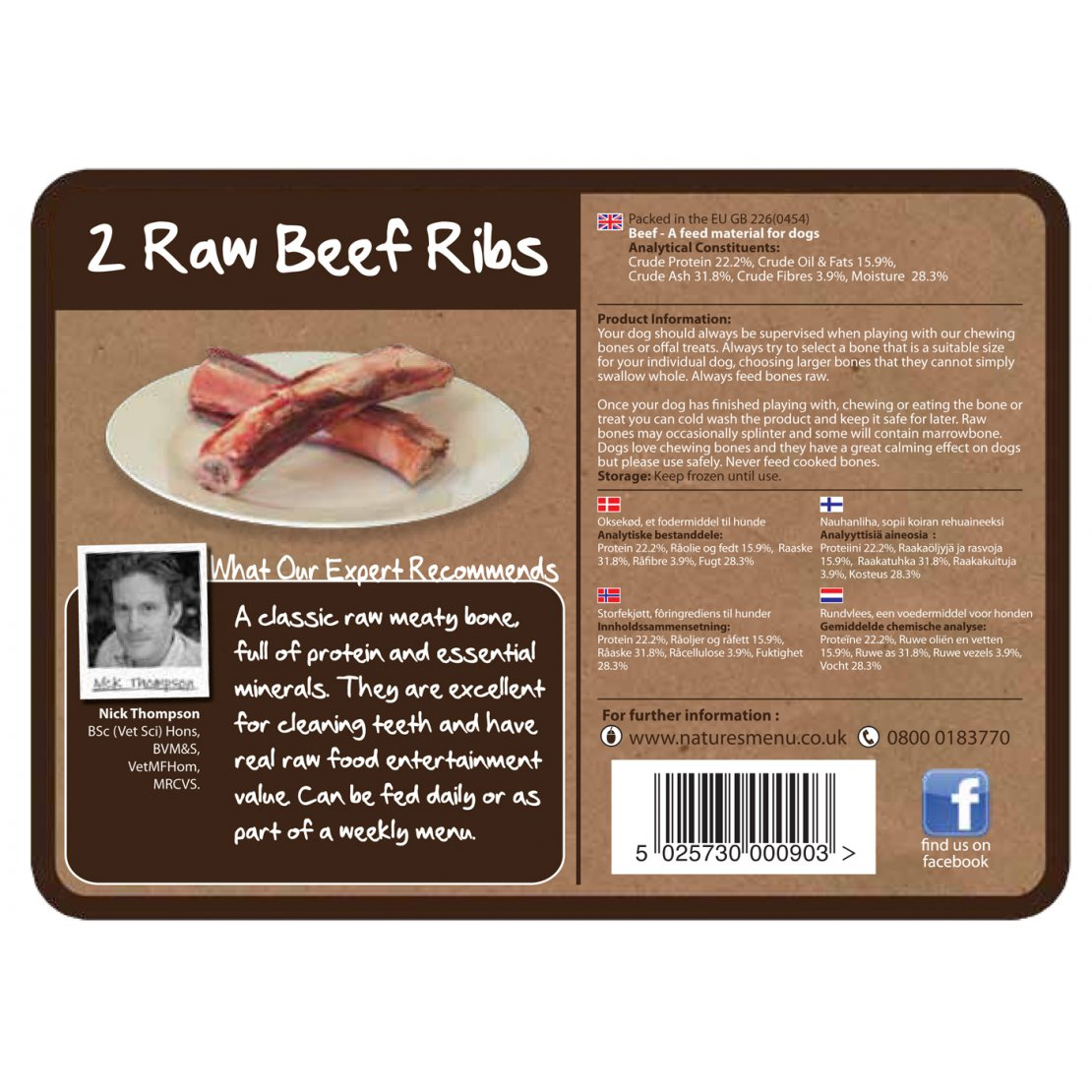 ONLY AVAILABLE FOR LOCAL DELIVERY. Natures Menu Frozen Dog Chew. Beef Ribs