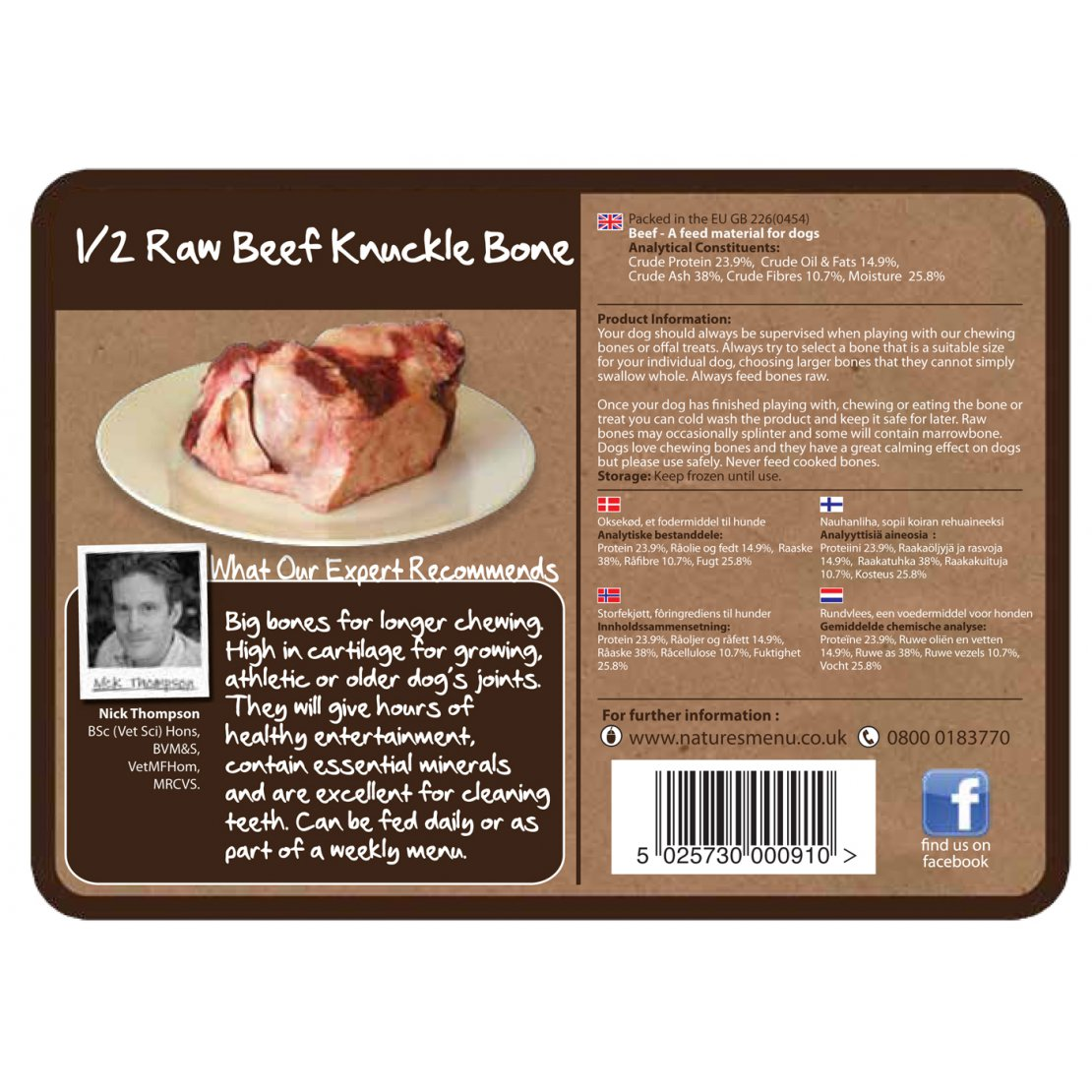 ONLY AVAILABLE FOR LOCAL DELIVERY. Natures Menu. Frozen Dog Chew. Knuckle Bone