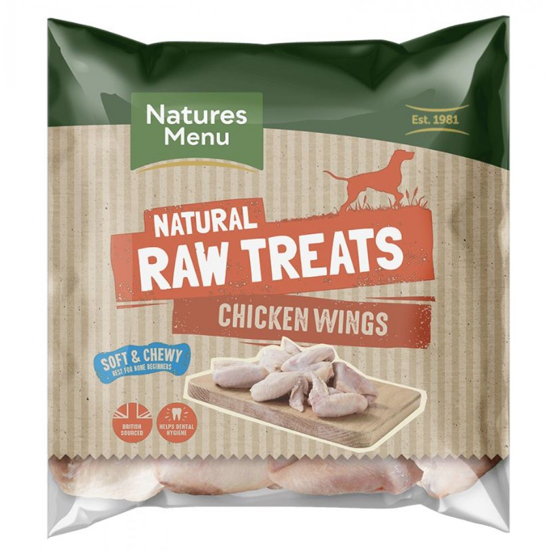 ONLY AVAILABLE FOR LOCAL DELIVERY. Natures Menu Frozen Dog Chew. Chicken Wings