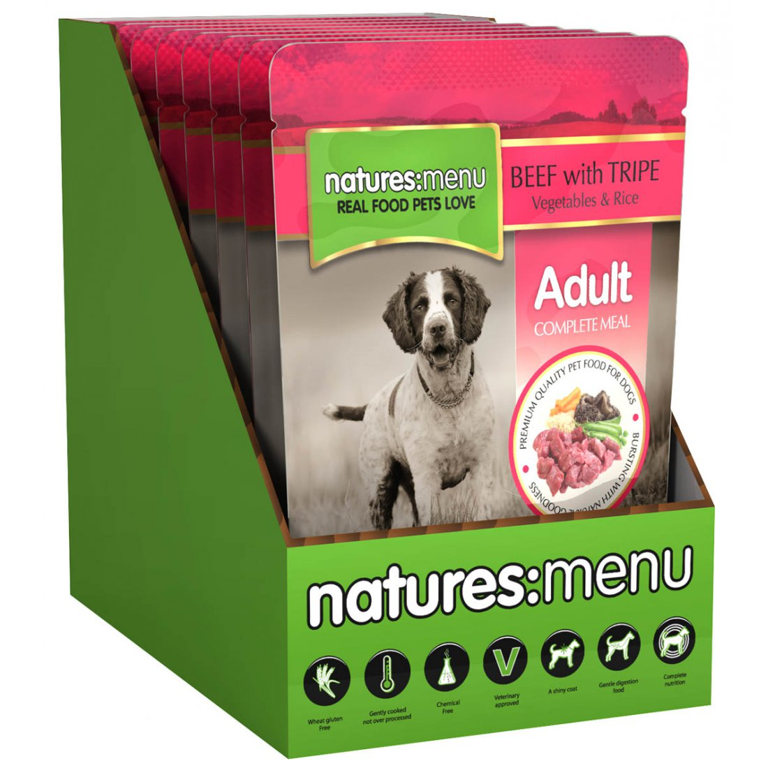 ONLY AVAILABLE FOR LOCAL DELIVERY. Natures Menu Dog Food Pouch. Beef & Tripe. 8Pk.