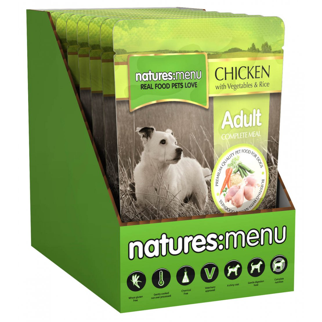 ONLY AVAILABLE FOR LOCAL DELIVERY. Natures Menu Dog Food Pouch. Chicken. 8Pk.