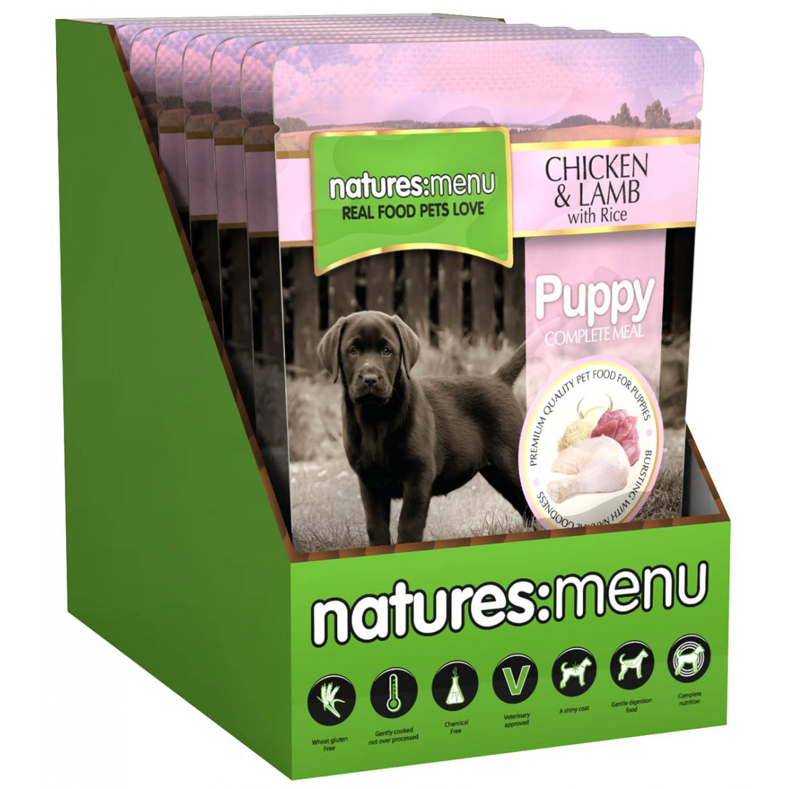 ONLY AVAILABLE FOR LOCAL DELIVERY. Natures Menu Puppy Pouch. 8pk