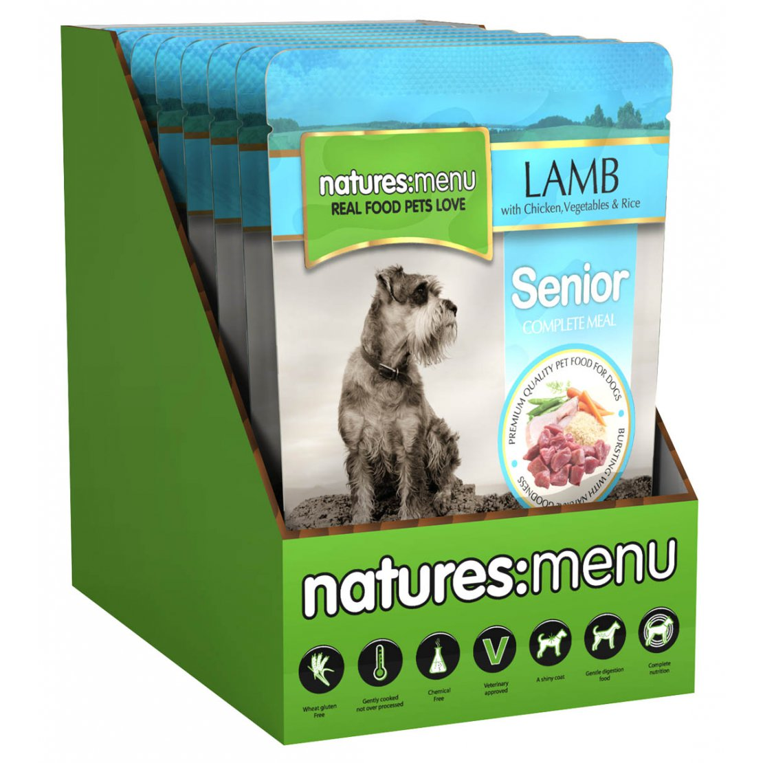 ONLY AVAILABLE FOR LOCAL DELIVERY. Natures Menu Senior Dog Food Pouch. Lamb 8pk