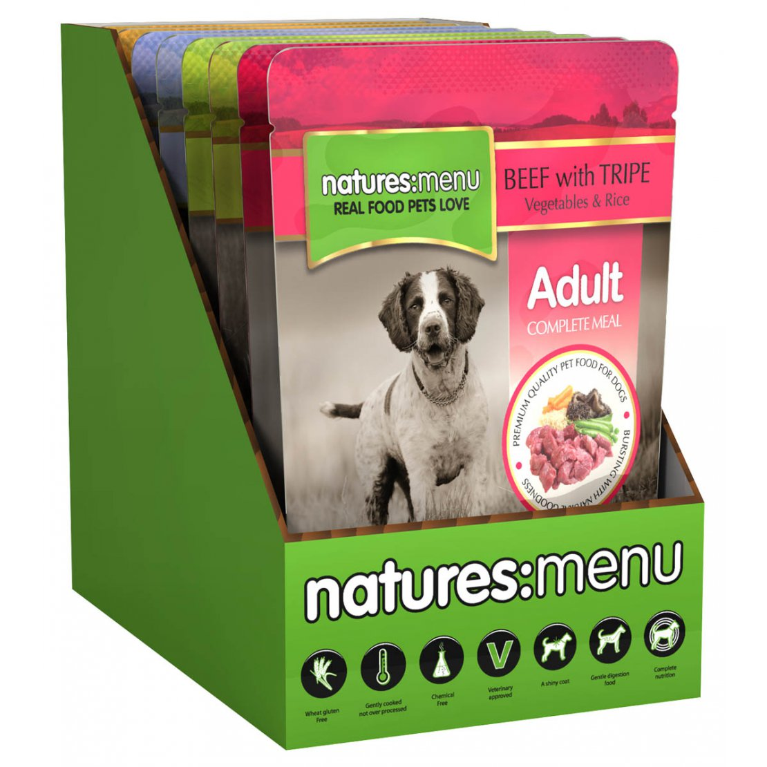 ONLY AVAILABLE FOR LOCAL DELIVERY. Natures Menu Dog Food Pouch. Variety. 8Pk.