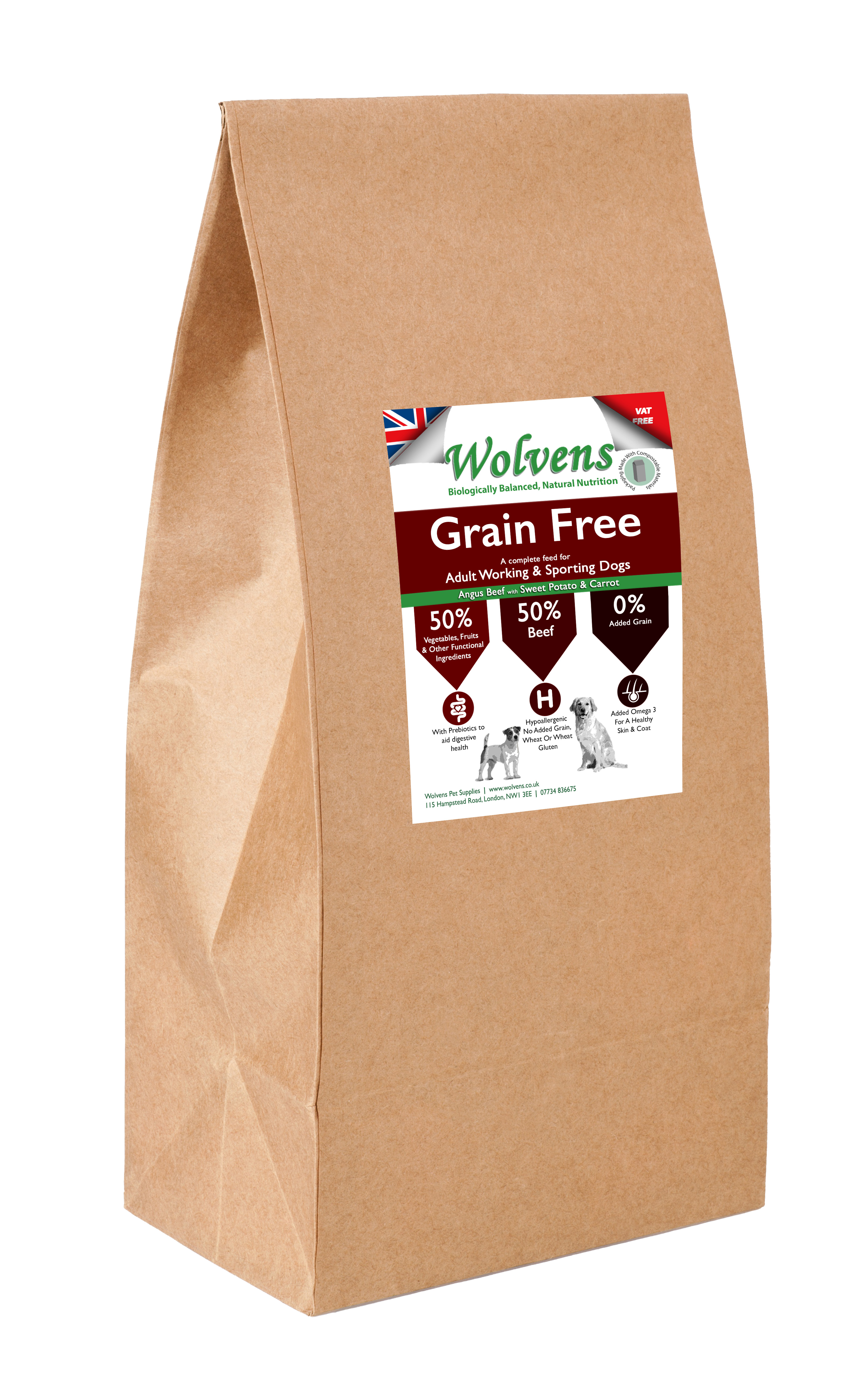 Wolvens Grain Free Dog Food. Beef