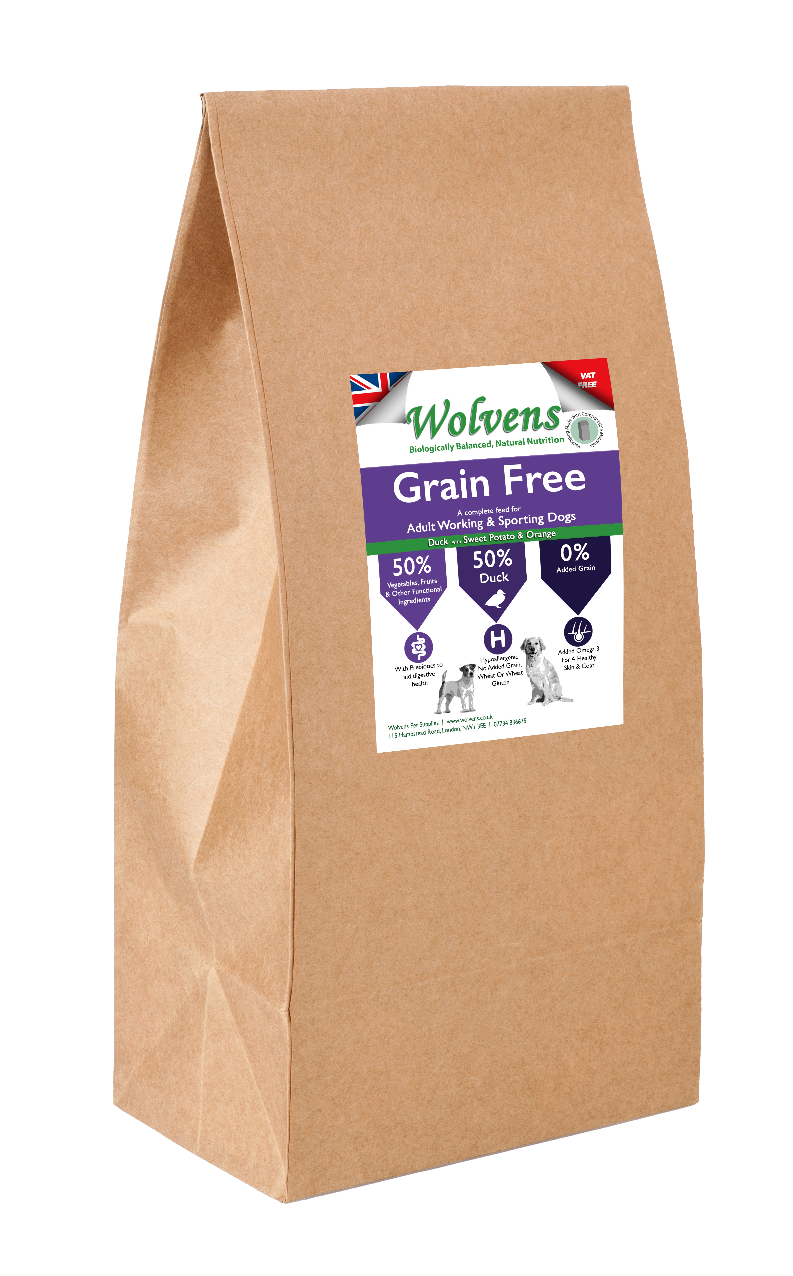 Wolvens Grain Free Dog Food. Duck